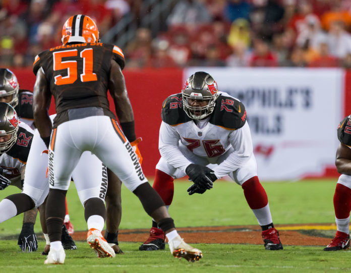 The Tampa Bay Buccaneers offensive tackle Donovan Smith (76) in 2017