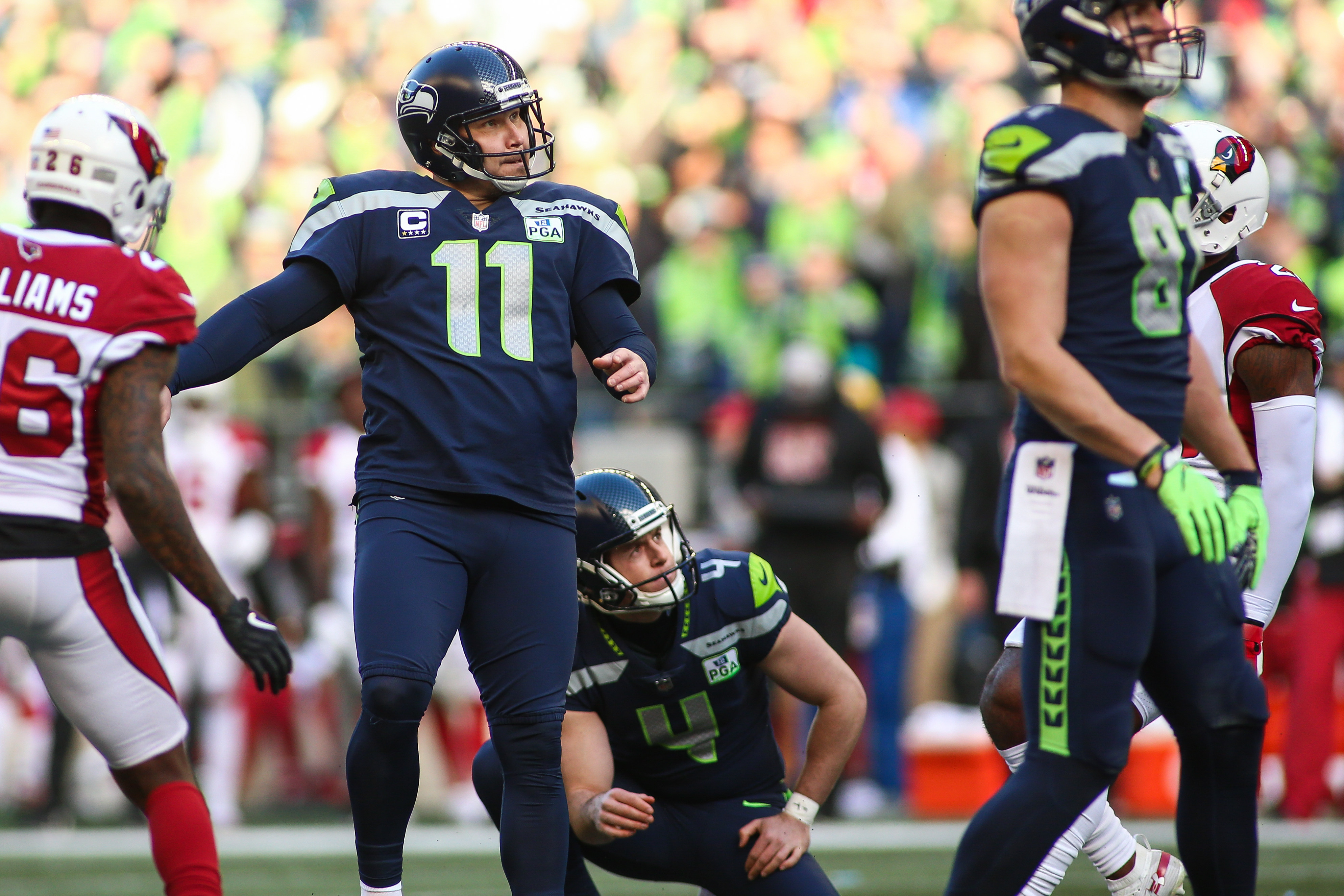 7e39df3b Sebastian Janikowski (11) with the Seahawks. Photo by Sean  Brown/CSM/REX/Shutterstock. The former Oakland Raiders and ...